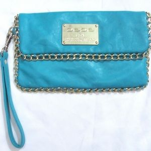 Bebe Turquoise Wallet Clutch Purse Chain Trim